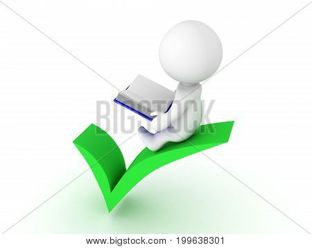 3D Character sitting on green check mark and reading a book. Isolated on white.