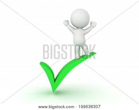 3D Character standing on top of green check mark. Isolated on white.
