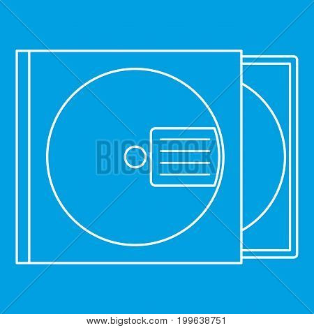 CD box icon blue outline style isolated vector illustration. Thin line sign