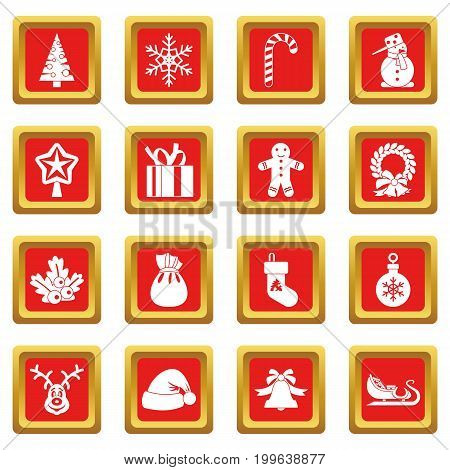 Christmas icons set in red color isolated vector illustration for web and any design