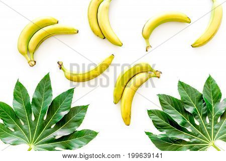 Tropical pattern with big leaves and bananas on white background top view.