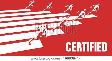 Certified with Business People Running in a Path 3D Illustration Render