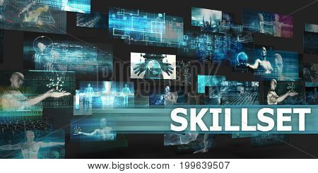 Skillset Presentation Background with Technology Abstract Art 3D Illustration Render