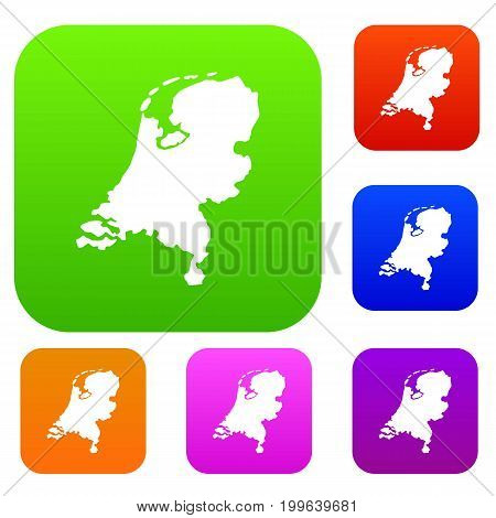 Holland map set icon in different colors isolated vector illustration. Premium collection