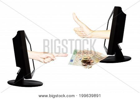 Virtual payment by internet with two hands and euro banknote and coins in displays on the white background - internet business concept - teamwork success