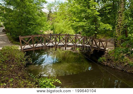 Beautiful Wooden Footbridge In Sofiyivsky Park In Uman, Ukraine