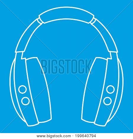 Wireless headphones icon blue outline style isolated vector illustration. Thin line sign