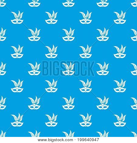 Carnival mask pattern repeat seamless in blue color for any design. Vector geometric illustration