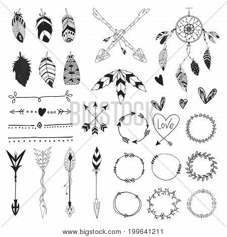 Arrows feathers hearts ornament vector photo bigstock arrows feathers hearts and ornament handdrawn wedding decor elements in boho style vector collection junglespirit Image collections
