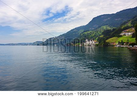 Beautiful view on the lake Luzern nearby city of Vitznau at morning time. Switzerland