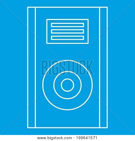 Audio speaker icon blue outline style isolated vector illustration. Thin line sign