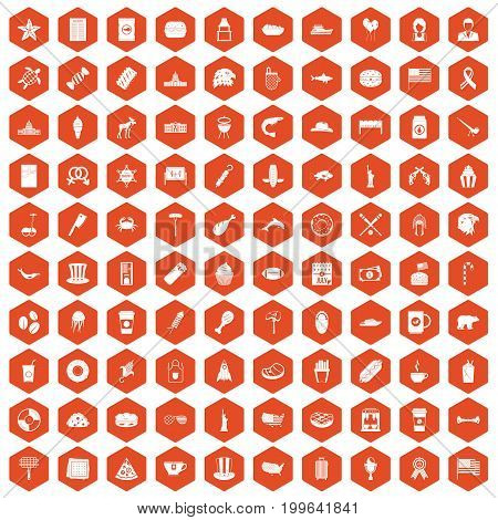 100 USA icons set in orange hexagon isolated vector illustration