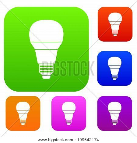 Glowing LED bulb set icon in different colors isolated vector illustration. Premium collection