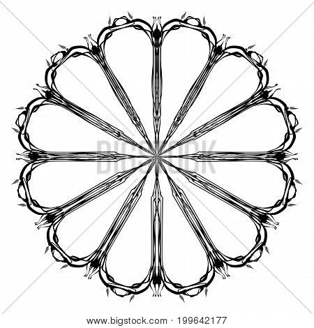 A thin line isolated mandala style pattern over a white background