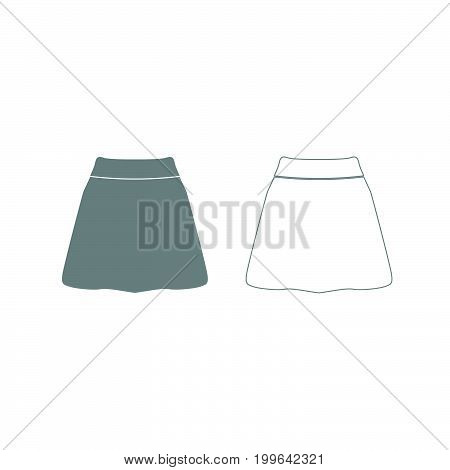 Skirt Grey Set Icon .