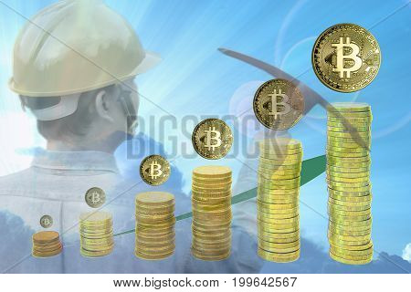 Bitcoin mining concept :Miner holding pickaxes on blue sky background with stack of coins. Bitcoins which getting bigger implying higher price. Multiple exposure technique.