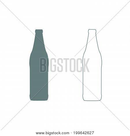 Beer Bottle Grey Set Icon .