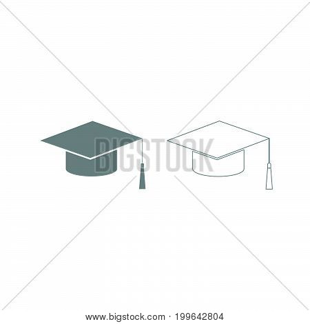 Graduation Cap Grey Set Icon .