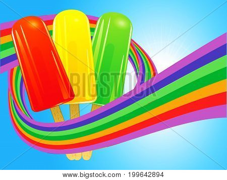 Red Yellow and Green Ice Lollies Wrapped in a Rainbow Over Blue Sunny Sky Background