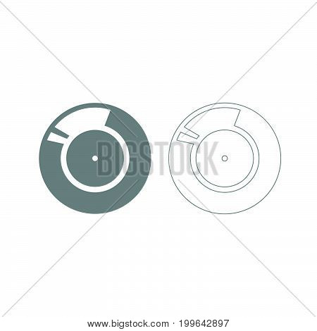 Vinyl Record. Retro Sound Carrier Grey Set Icon .