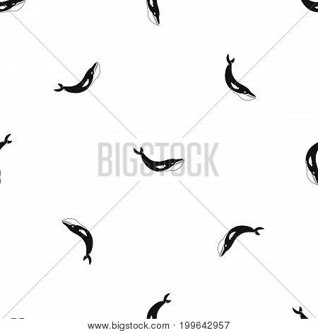 Whale pattern repeat seamless in black color for any design. Vector geometric illustration