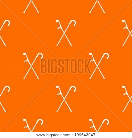 Walking cane pattern repeat seamless in orange color for any design. Vector geometric illustration