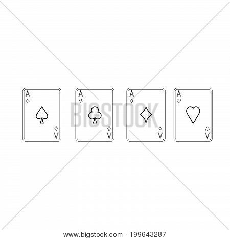 Playing Cards Black Color Icon .