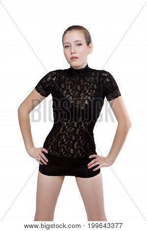 Fashion Model Posing. Isolated On White Background.