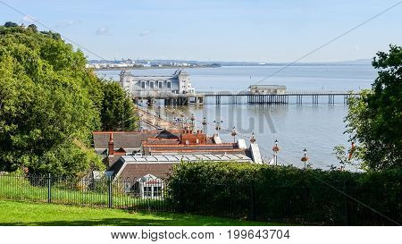 Aerial view of Penarth Pier and the Esplanade with Cardiff Docks in the background taken from the Cliff Hill in Penarth.