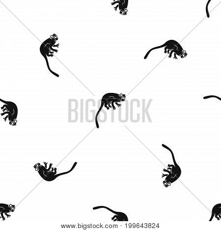 Marmoset monkey pattern repeat seamless in black color for any design. Vector geometric illustration