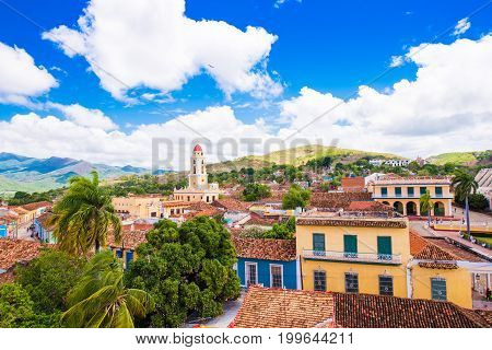 View of the city, Trinidad, Sancti Spiritus, Cuba. Сopy space for text. Top view.