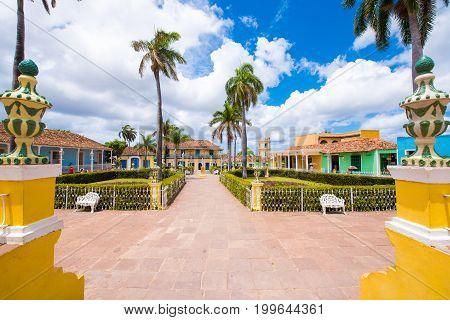 View to the city's main square Trinidad Sancti Spiritus Cuba.