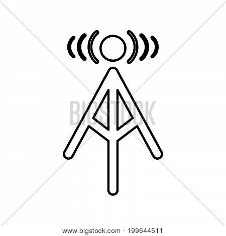 Radio Tower Black Color Icon .