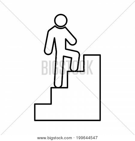 A Man Climbing Stairs Black Color Icon .