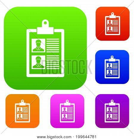 Resume of two candidates set icon in different colors isolated vector illustration. Premium collection