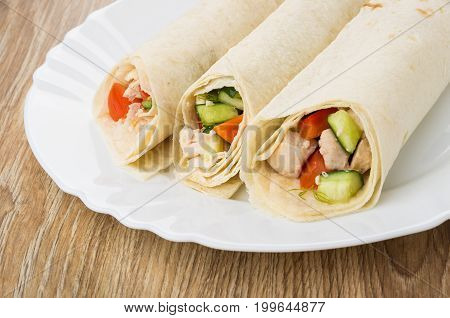 Close Up Of Tortillas With Chicken Meat And Vegetables