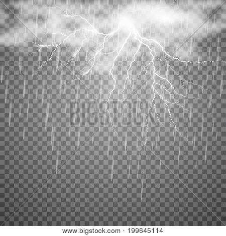 Realistic vector lightning with rain and cloud on checkered background. Bright, electric lightning.