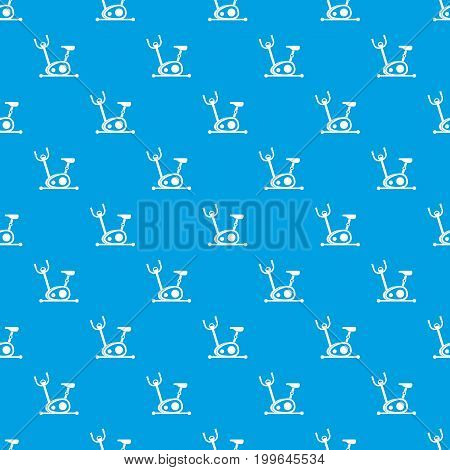 Exercise bike pattern repeat seamless in blue color for any design. Vector geometric illustration