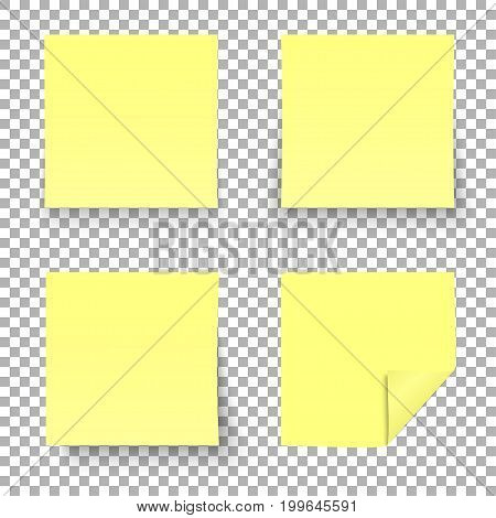 Yellow sticky notes isolated on transparent background. Vector illustration