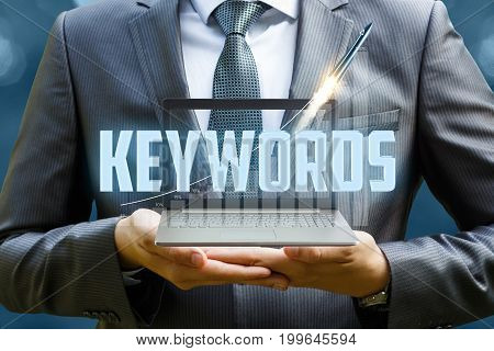 Keywords In The Hands Of A Businessman .