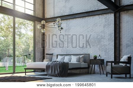 Loft style bedroom 3d rendering image.There are white brick wallpolished concrete floor and black steel structure.Furnished with black furniture.There are large windows look out to see the nature