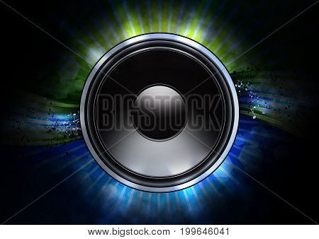Green and blue music abstgract background with black glossy loudspeaker symbol.