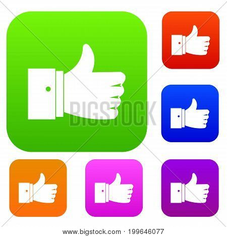 Thumb up gesture set icon in different colors isolated vector illustration. Premium collection
