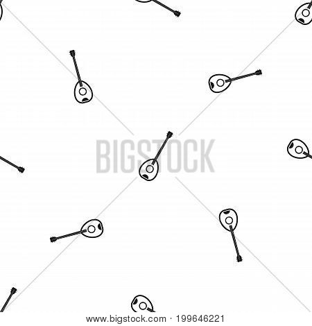 Saz turkish music instrument pattern repeat seamless in black color for any design. Vector geometric illustration