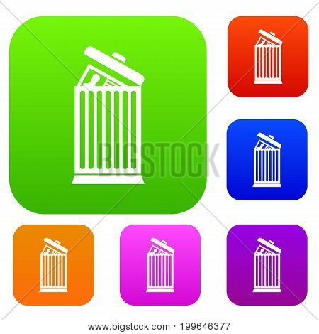 Resume thrown away in the trash can set icon in different colors isolated vector illustration. Premium collection