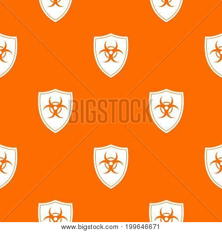 Shield with a biohazard sign pattern repeat seamless in orange color for any design. Vector geometric illustration