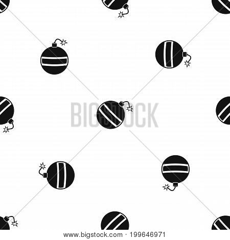 Bomb pattern repeat seamless in black color for any design. Vector geometric illustration