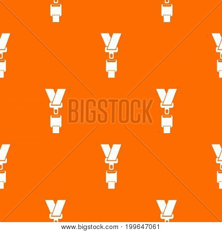Safety belt pattern repeat seamless in orange color for any design. Vector geometric illustration