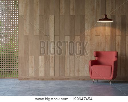 Modern contemporary living room interior 3d rendering image.There are polished concrete floor decorate wall with wood plank .There are void with wood lattice Look out to see nature