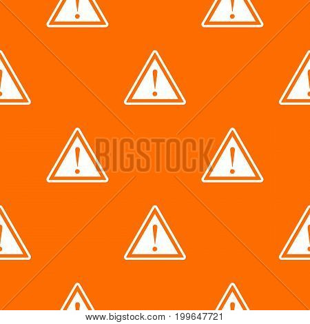Hazard warning attention sign with exclamation mark pattern repeat seamless in orange color for any design. Vector geometric illustration